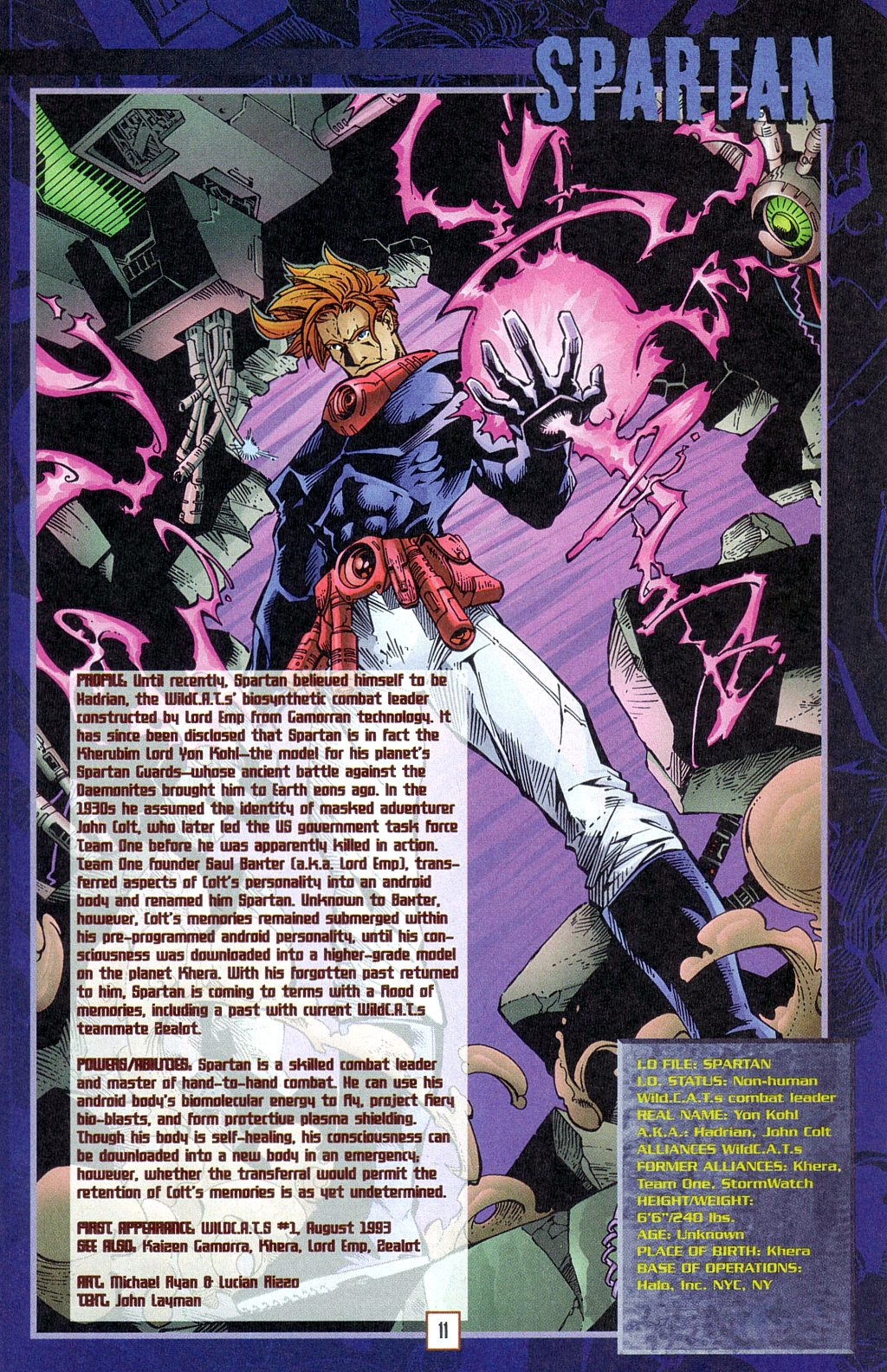 In 'Wildstorm Universe' (1996) #1, we find the source file for the Kherubim superhero named Spartan.