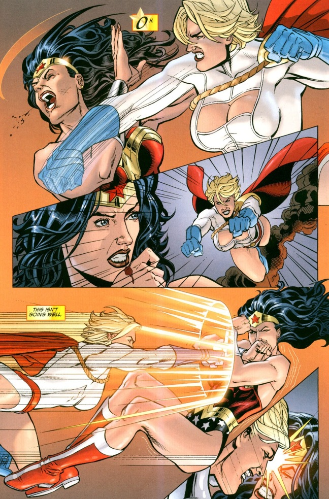 In 'Wonder Woman' (2010) #41, Power Girl possessed by the Children Of Ares punches Wonder Woman who bleeds.