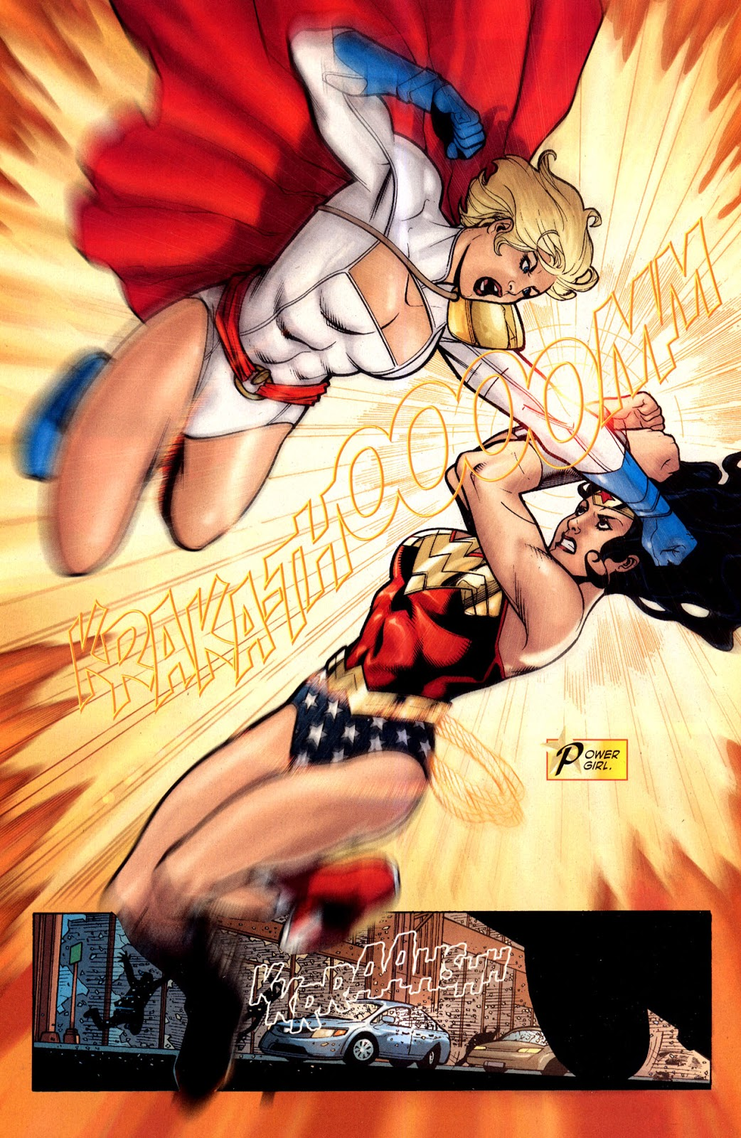 In 'Wonder Woman' (2010) #40, Power Girl possessed by the Children Of Ares, fights Wonder Woman.