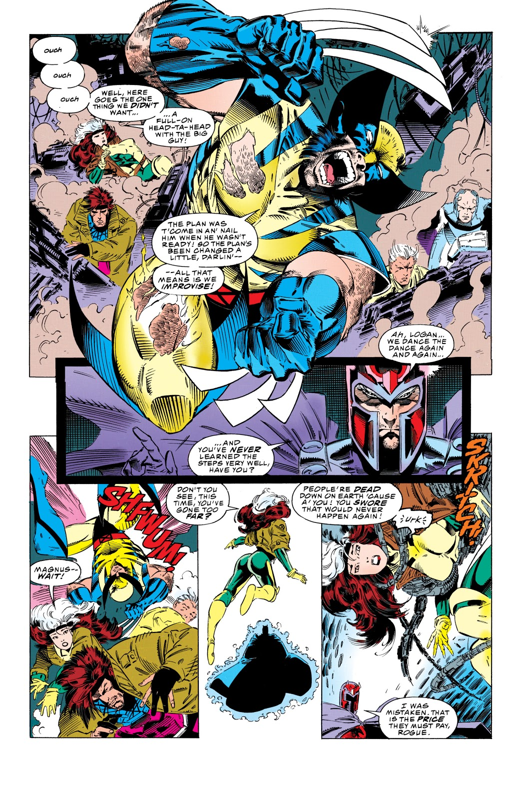 In X-Men (1993) #25, Wolverine charges on the offensive against Magneto.