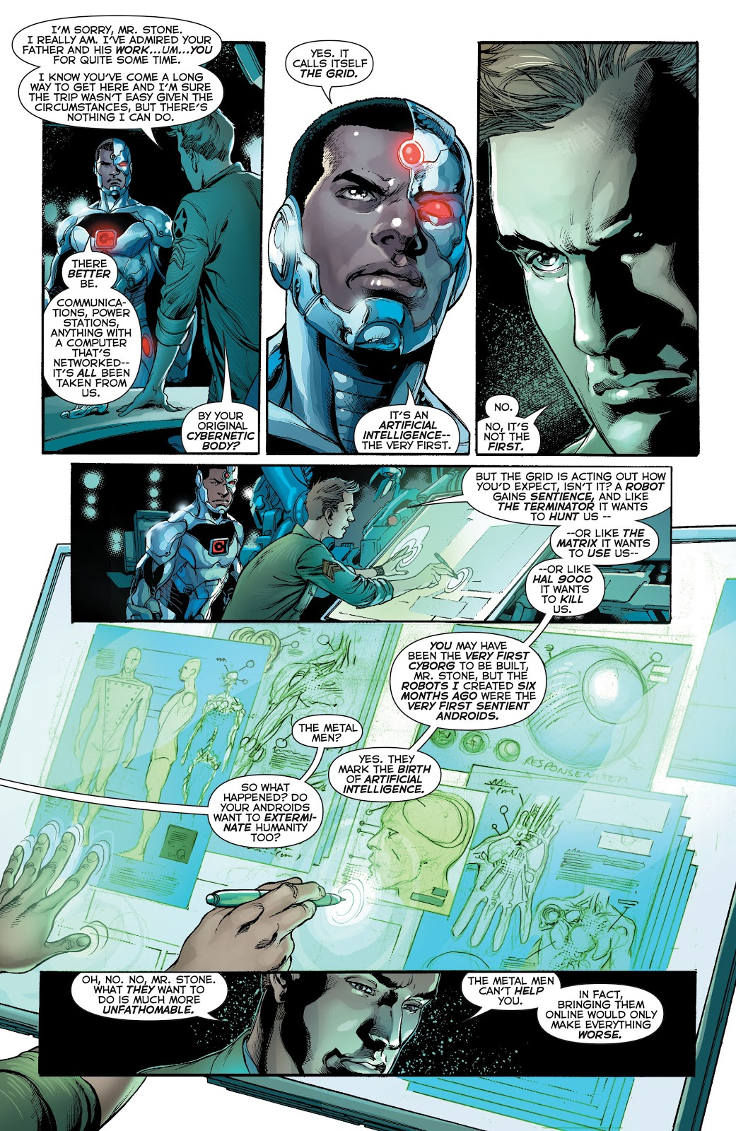 In 'Justice League' (2014) #28, Dr. William Magnus tells Cyborg of the creation of the Metal Men, the First A.I. on Prime Earth.