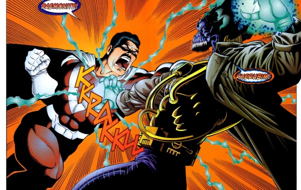 In 'Team One: WildC.A.T.s.' (1995) #2, Mr. Majestic withstands a blast to the chest from Helspont.