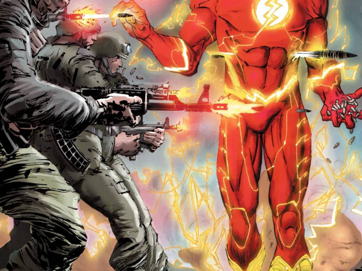 In 'Captain Atom' (2012) #3, Flash (Barry Allen) disarms the Libyan army as they fire their bullets in slow motion.