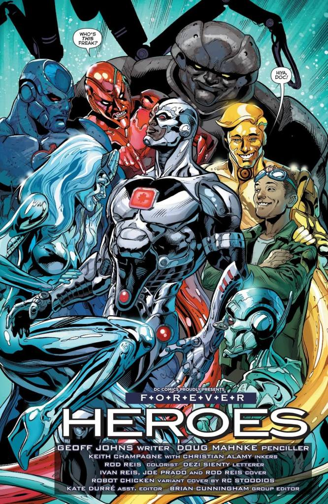 In 'Justice League' (2014) #29, Cyborg meets the Metal Men to aid him in combating a new threat!