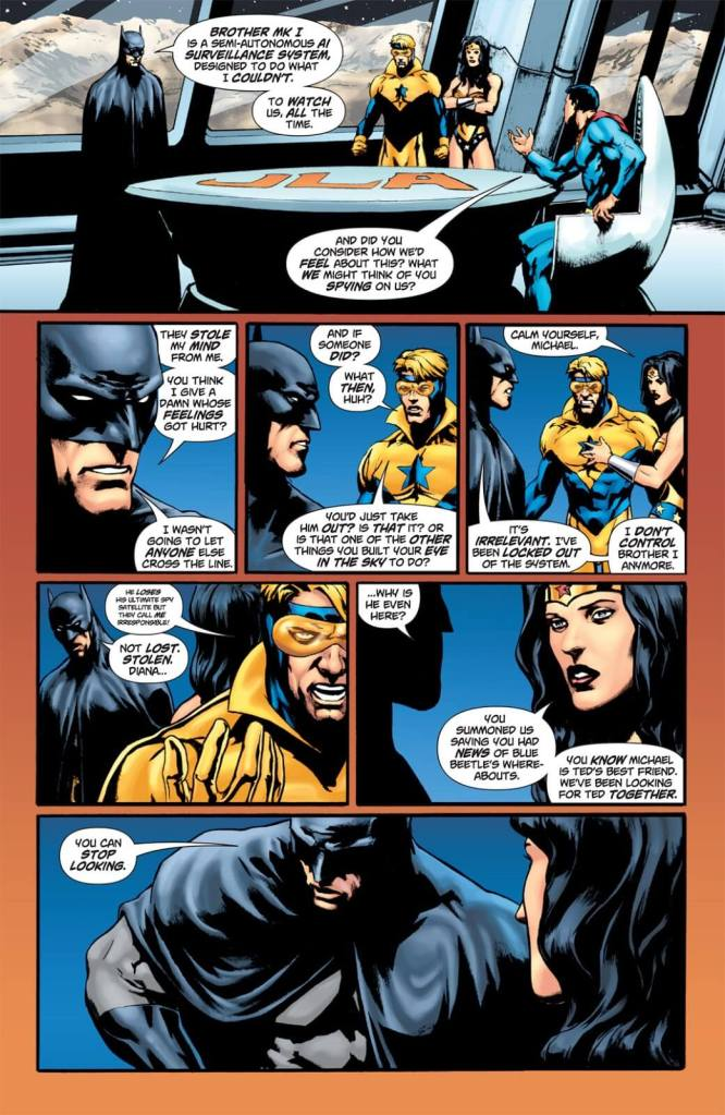 In 'OMAC Project #2' (2005), Batman informs the Justice League that Brother Eye was hacked by Maxwell Lord, leader of Checkmate.