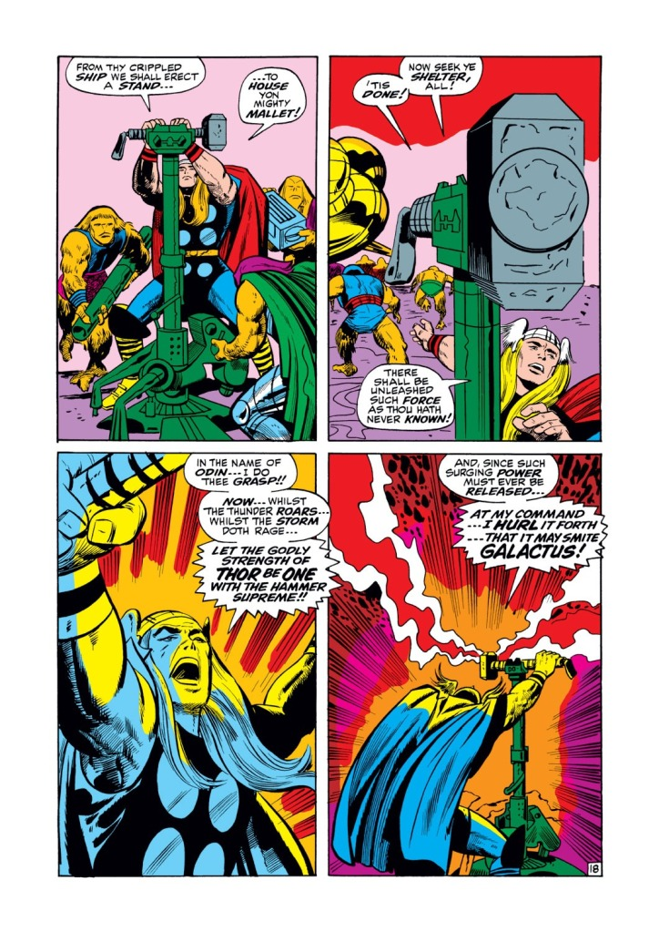 In 'Thor' (1969) #161, Thor lashes out the fury of the God Blast at Galactus from Ego The Living Planet.