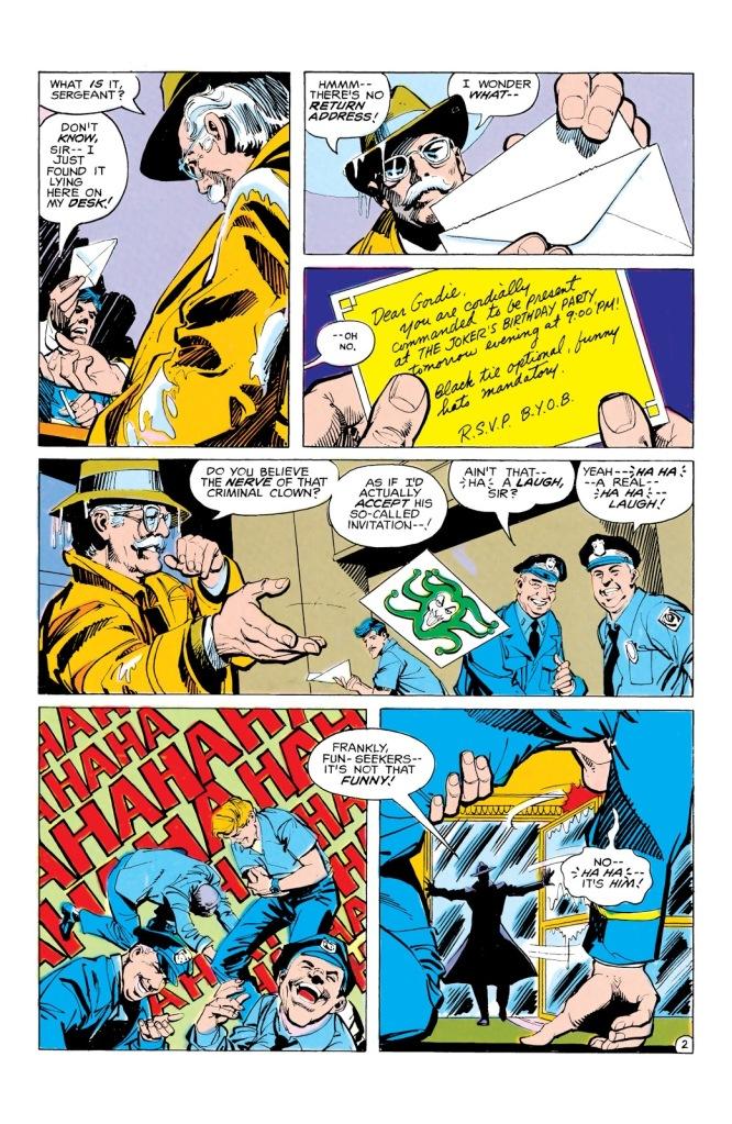 In 'Batman' (1980) #321, Joker sends the GCPD an invitation letter gassed with Joker Venom.