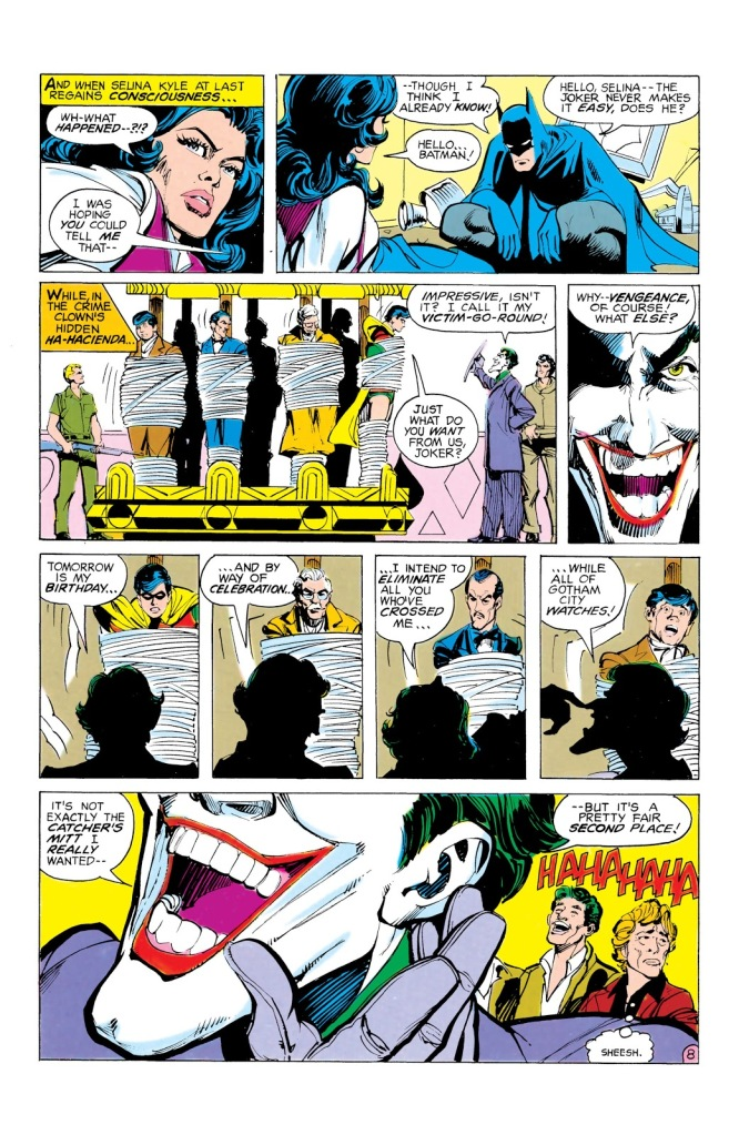 "In 'Batman' (1980) #321, Joker sets up his ""victim-go-round"" to kill all his sworn enemies ""while all Gotham City watches"" as celebration for his birthday."