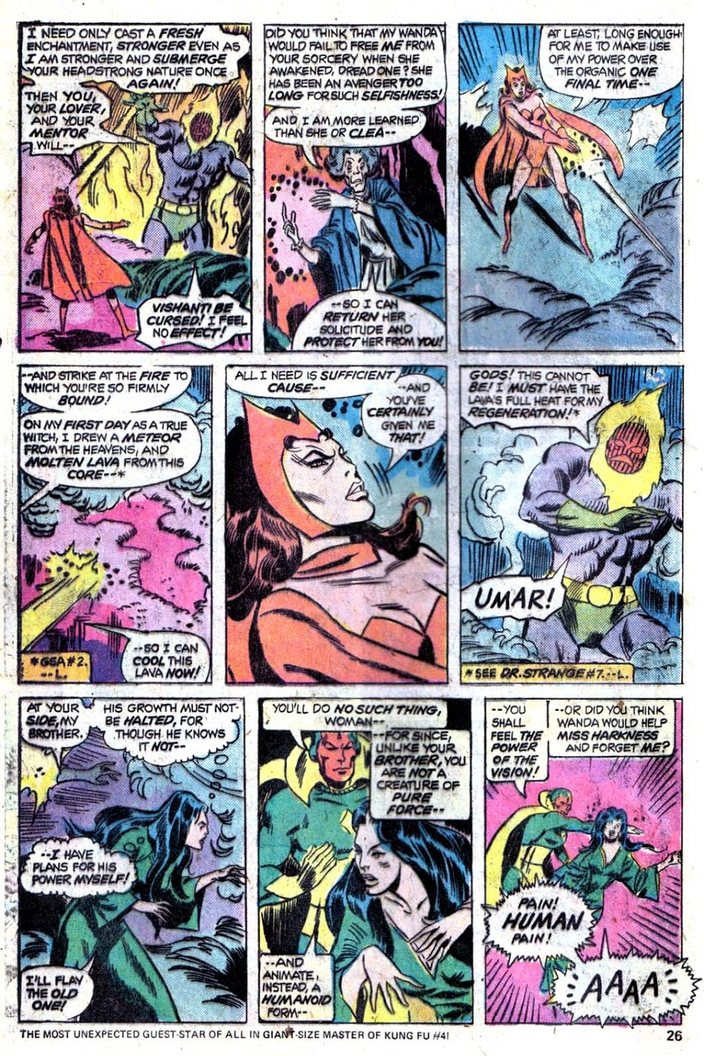 In 'Giant Size Avengers' #4, Vision, the Scarlet Witch and Miss Harkness battle Dormammu and Urma.