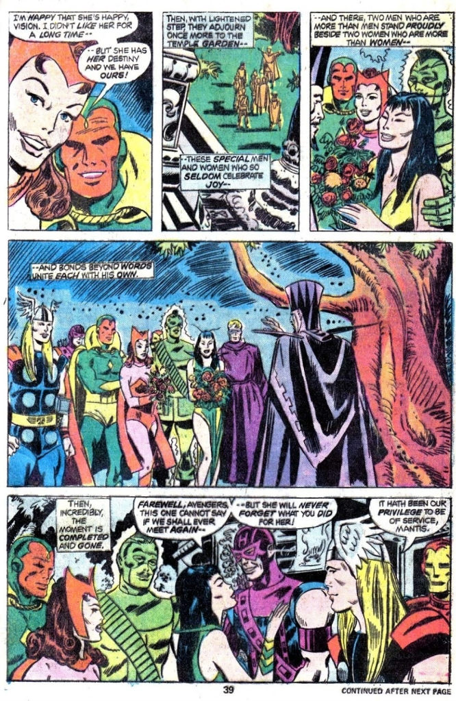 In 'Giant Size Avengers' (1975) #4, Vision marries the Scarlet Witch.