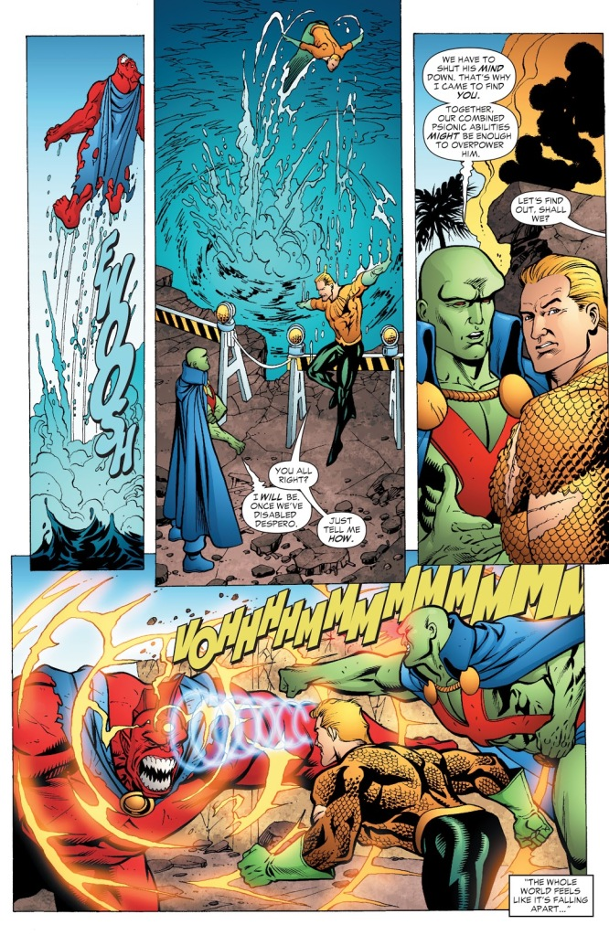 In 'JLA' (2006) #118, Aquaman performs a super strength feat. Aquaman punches Despero out of Sam Diego Bay.