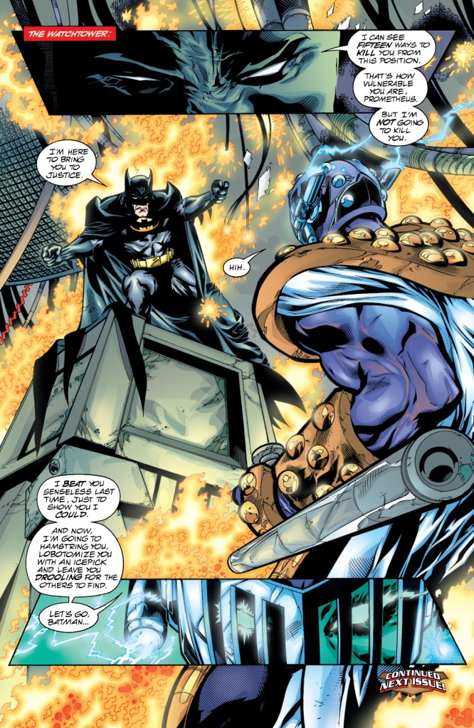 In 'JLA' (2000) #37, the Injustice Gang invades the JLA Watchtower. Batman faces Prometheus.
