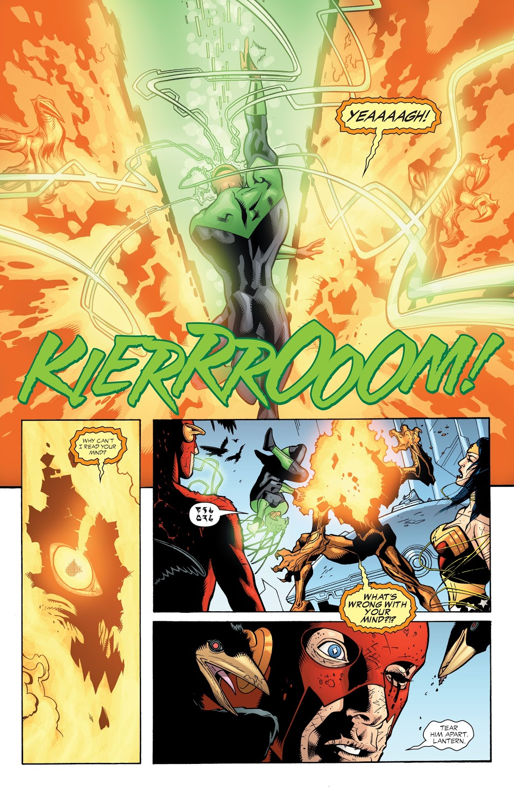 In 'JLA' (2003) #87, Green Lantern (John Stewart) performs an energy projection feat. John Stewart teleports from Ganthet and tears apart Fernus with a Green light energy attack.