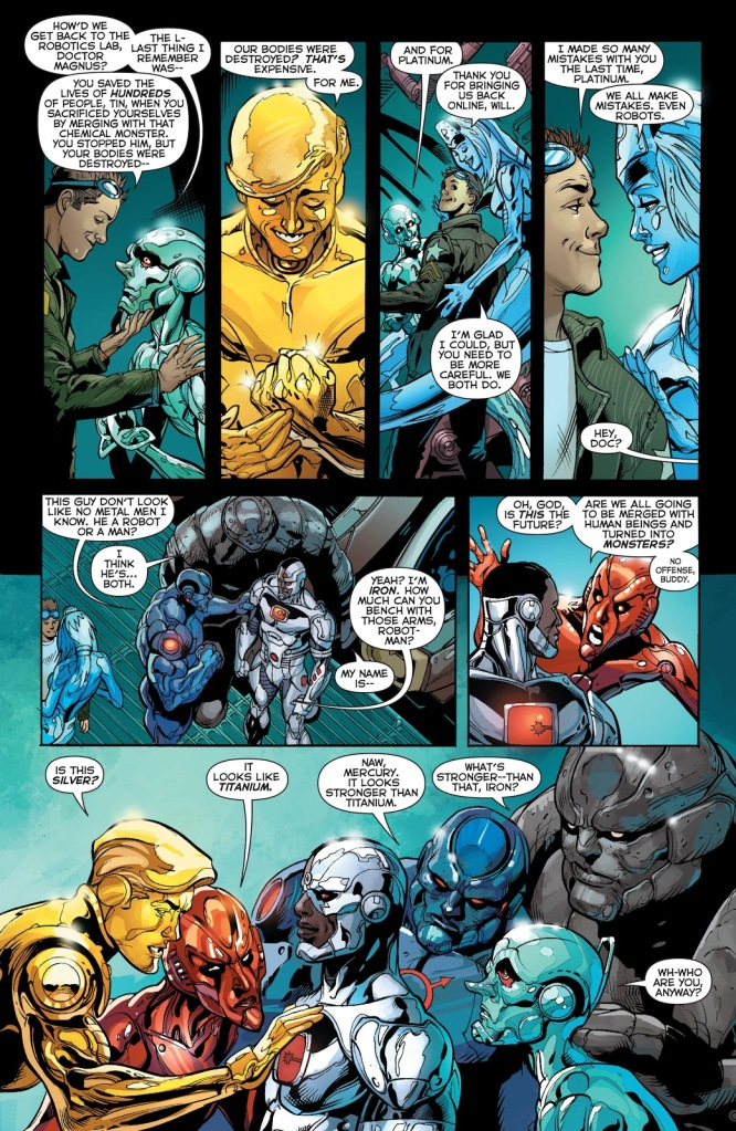 In 'Justice League' (2014) #29, the Metal Men ask what Cyborg's body is made of.