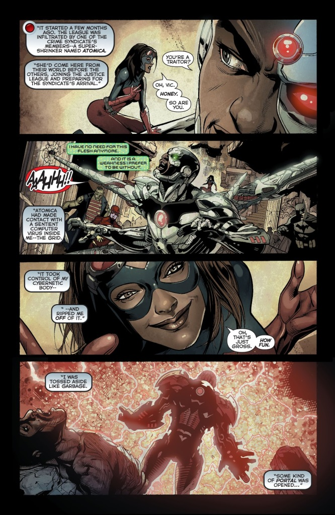 In 'Justice League' (2014) #29, Cyborg narrates the events of 'Forever Evil.'