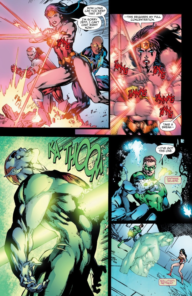 In 'Justice League Of America' (2008) #23, Wonder Woman blocks Amazo's heat vision with her magic bracelets.