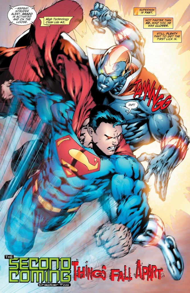In 'Justice League Of America' (2008) #23, Superman fights Amazo in Red Tornado's body.