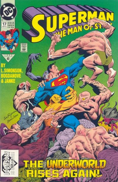 'Man Of Steel' (1992) #17, marks the first cameo appearance of Doomsday. Superman must face the menace of the Underworlders.