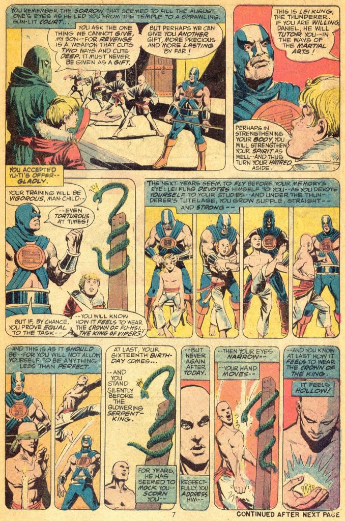 In 'Marvel Premiere' (1974) #16, Daniel Rand wins the Crown of the King from the Serpent King, but he wants more.
