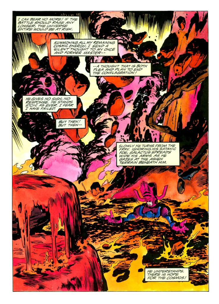 In 'Silver Surfer' (1988) #38, Galactus performs an energy projection feat. Galactus battles Mephisto in Mephisto's Realm to recover the Silver Surfer's and Nova's souls. During the battle, Galactus absorbs Mephisto's realm to feed.