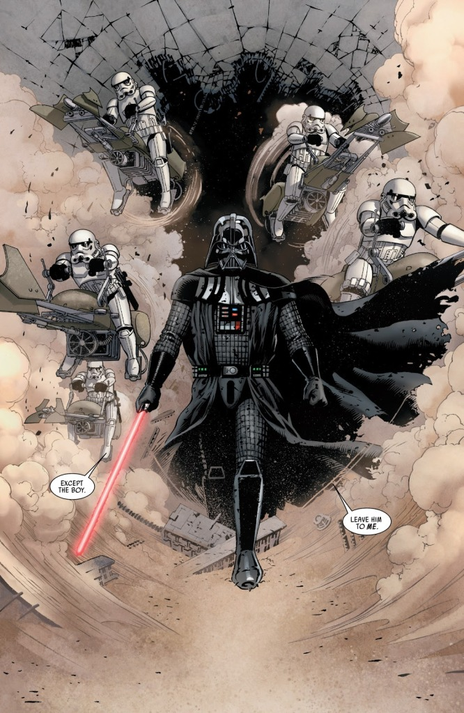 In 'Star Wars' (2015) #2, Darth Vader and the Empire forces evade hot pursuit of Luke Skywalker and the slaves of Cymoon 1.