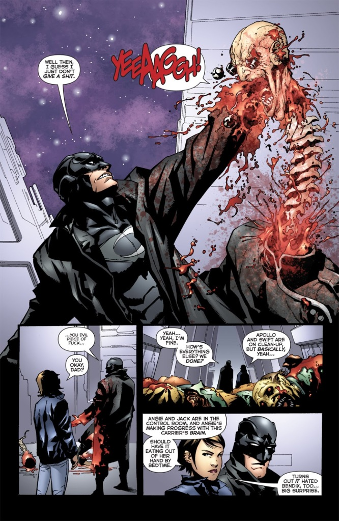 In 'The Authority: Revolution' (2005) #12, Midnighter viciously decapitates Henry Bendix.