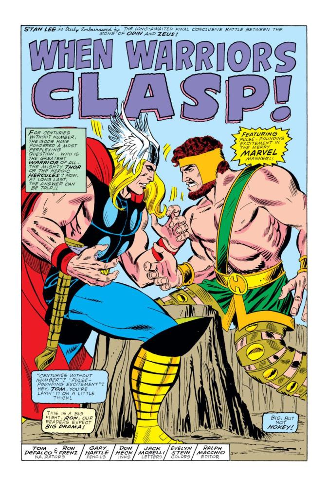 "In 'Thor' (1989) #400, Thor and Hercules arm wrestle to determine who is the ""greatest warrior of all!"""