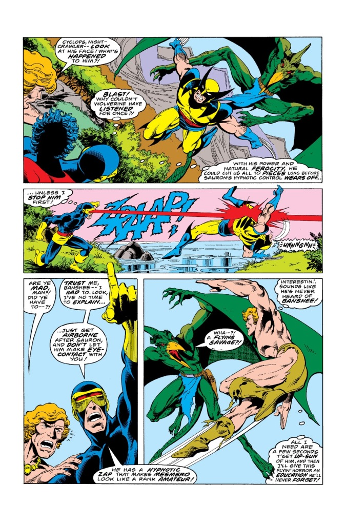 In 'Uncanny X-Men' (1978) #115, Cyclops performs an energy projection feat. During the fight, Cyclops knocks out Wolverine under hypnotic control by Sauron with an optic blast.