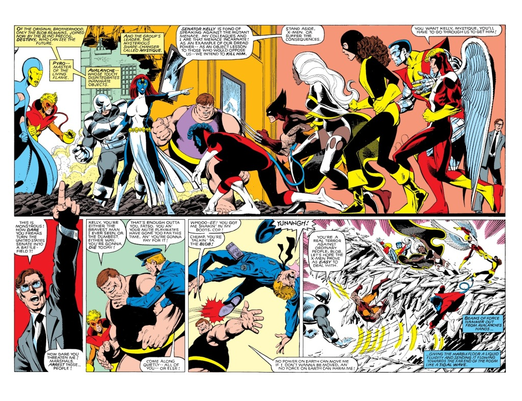 In 'Uncanny X-Men' (1981) #142, the X-Men face the Brotherhood Of Evil Mutants at the Capitol Building over their attempt to assassinate Senator Robert Kelly.