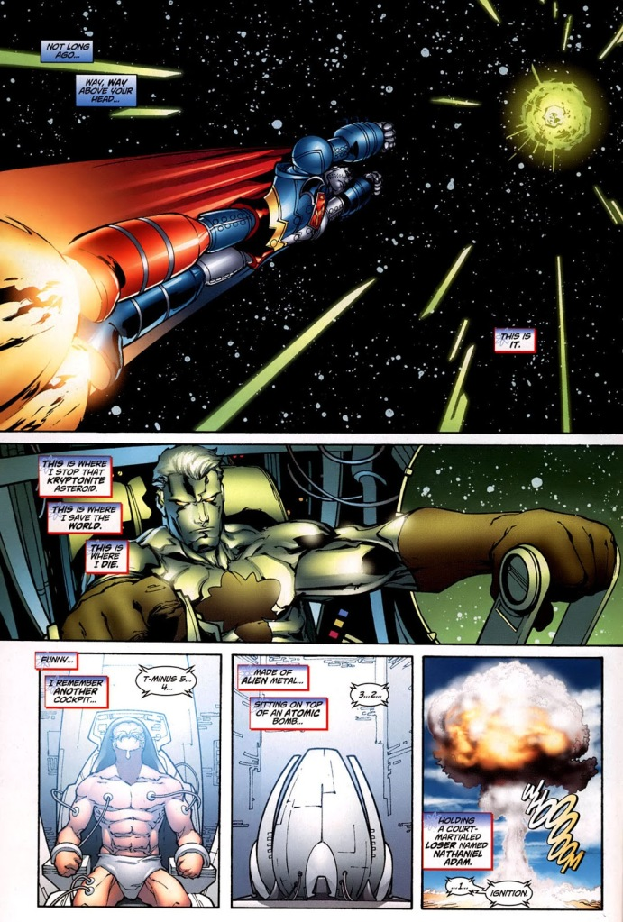 In 'Captain Atom: Armageddon' (2006) #9, Captain Atom reminisces in the Composite Superman/Batman robot cockpit about his origin story before his sacrifice to explode the Kryptonite asteroid. AP Photo/DC Comics