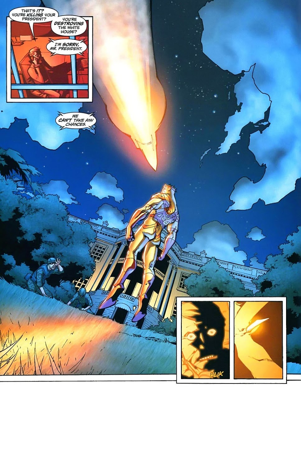 In 'Captain Atom: Armageddon' #3, Captain Atom faces the U.S. Army at the White House as he seeks the President's help.