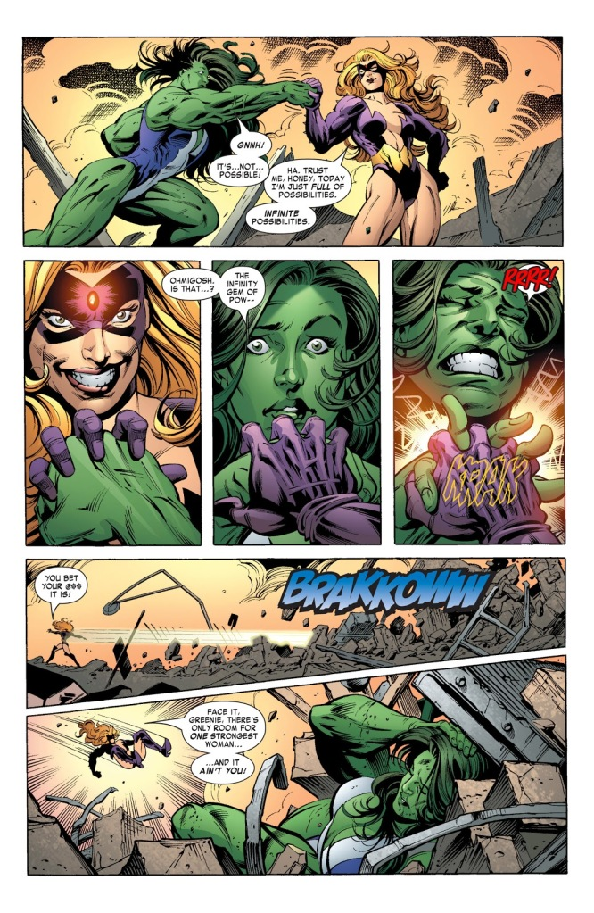 In 'She-Hulk' (2004) #11, Titania powered by the Power Gem beats down She-Hulk at the ruins of Avengers Mansion.