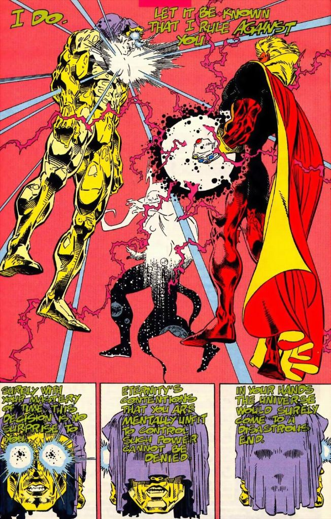 In 'Warlock and The Infinity Watch (1992) #1, the confrontation between the Living Tribunal and Adam Warlock with the Infinity Gauntlet would lay waste to reality.
