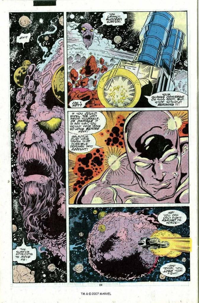 In 'Silver Surfer' (1989) #22, Silver Surfer performs an energy projection feat. During the battle, Silver Surfer powers Galactus' propulsion device on Ego's south pole, to send it to a nearby star.