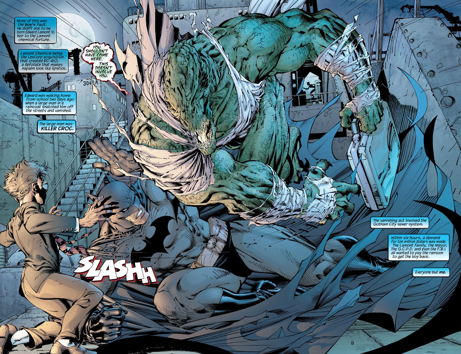 In 'Batman' (2002) #608, Batman has to fight Killer Croc in order to save Edward Lamont IV and recover the ransom money.