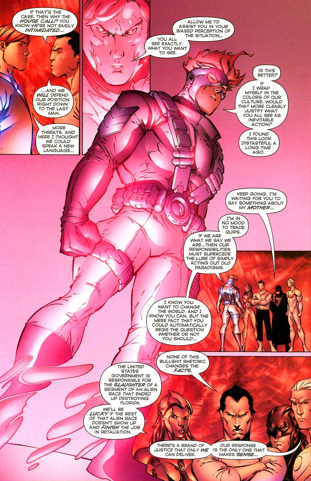 In 'Coup D'Etat' (2004) #1, Spartan warns the Authority of the consequences of their actions.