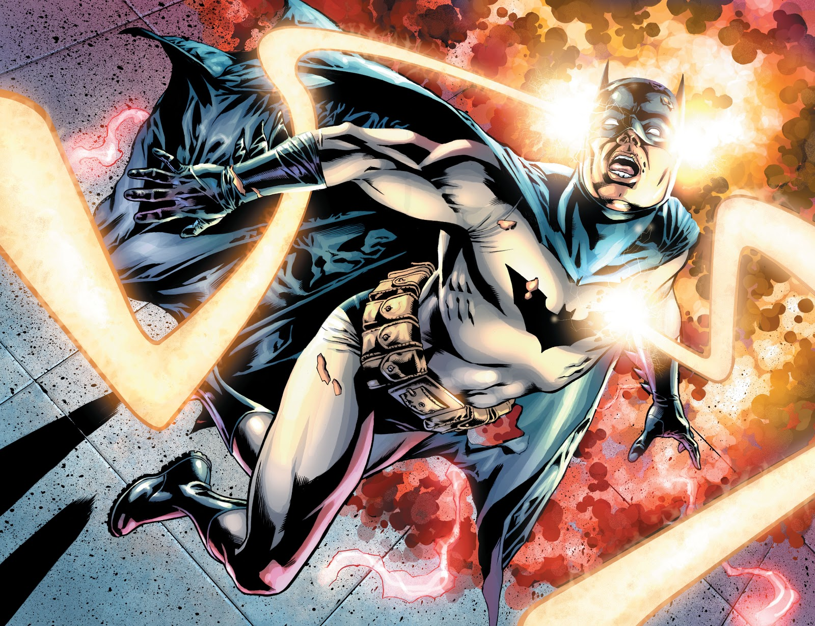 In 'Final Crisis' (2009) #6, the Omega sanction hits Batman at the head and the torso, sending him through time.