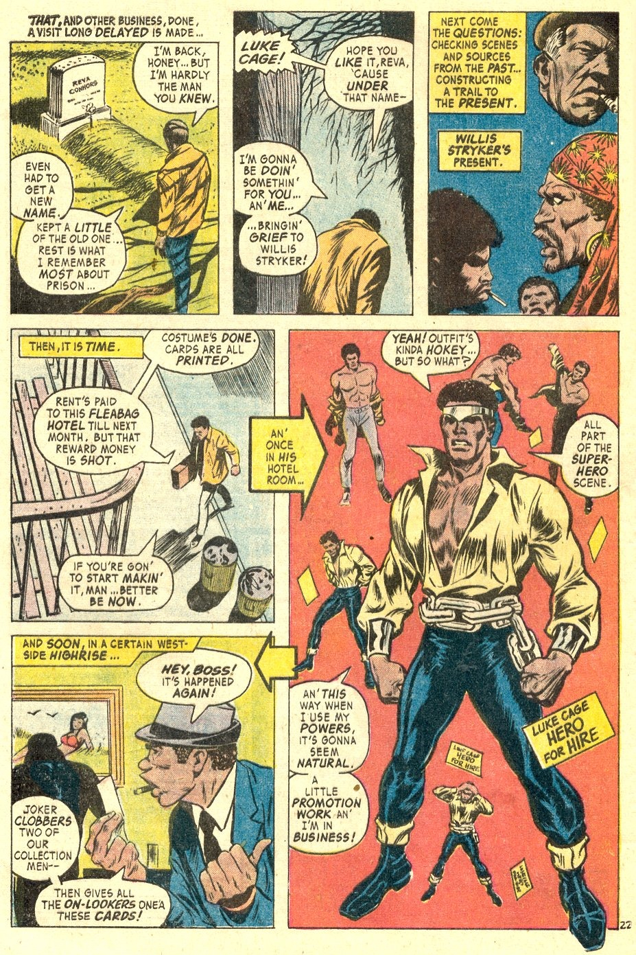 In 'Hero For Hire' (1972) #1, Luke Cage dons his costume and starts Hero For Hire from his hotel room.