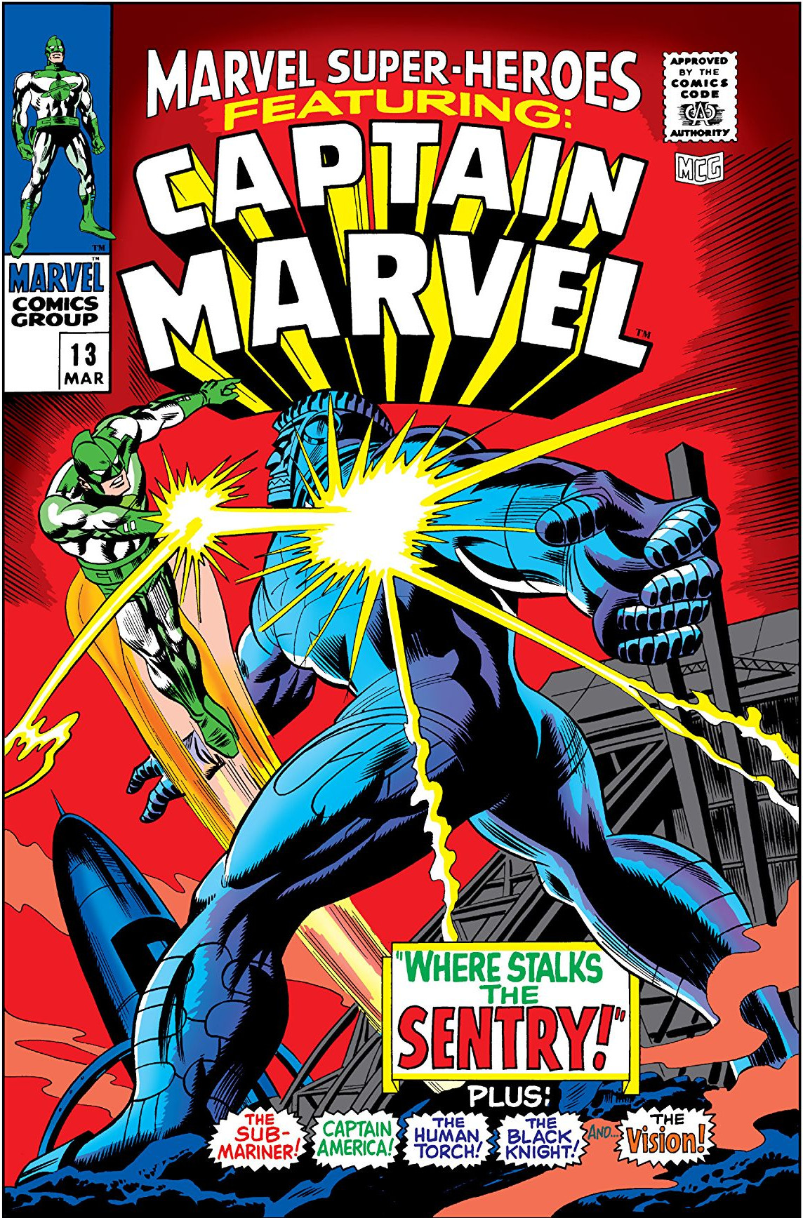 Marvel Super Heroes' (1968) #13, marks the first appearance of Ms. Marvel in Marvel continuity. The cover shows Mar-Vel taking on Sentry.