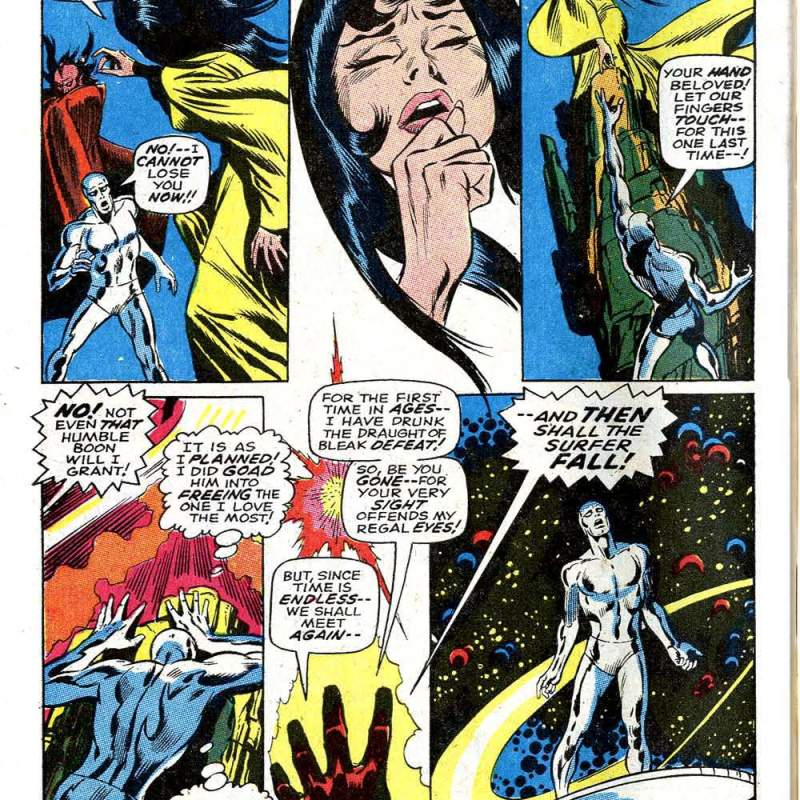 In 'Silver Surfer' (1968) #3, Silver Surfer has found Shalla Bal only to lose her again.