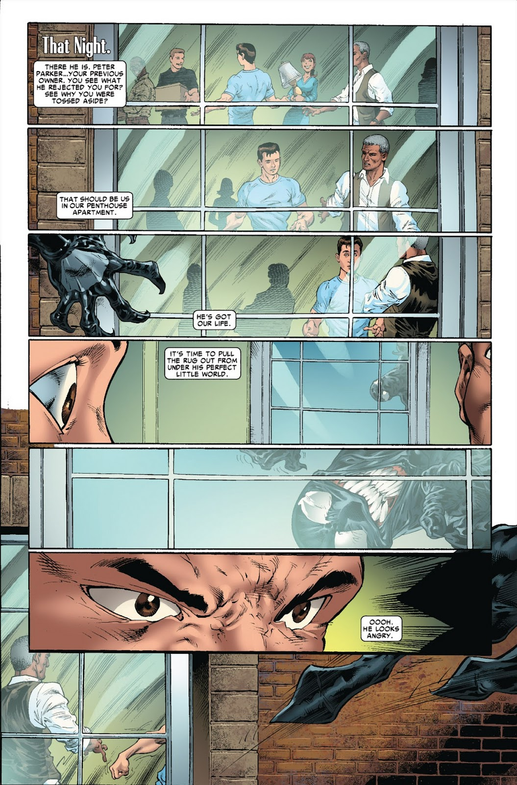 In 'Venom: Dark Origin' (2008) #5, Venom stalks and goads Spider-Man into a fight.