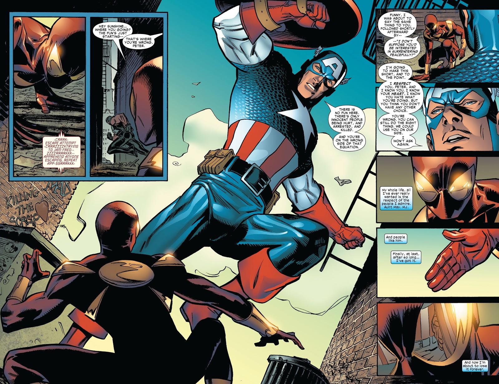In 'Amazing Spider-Man' (2006) #534, Spider-Man in the iron spider suit faces Captain America.