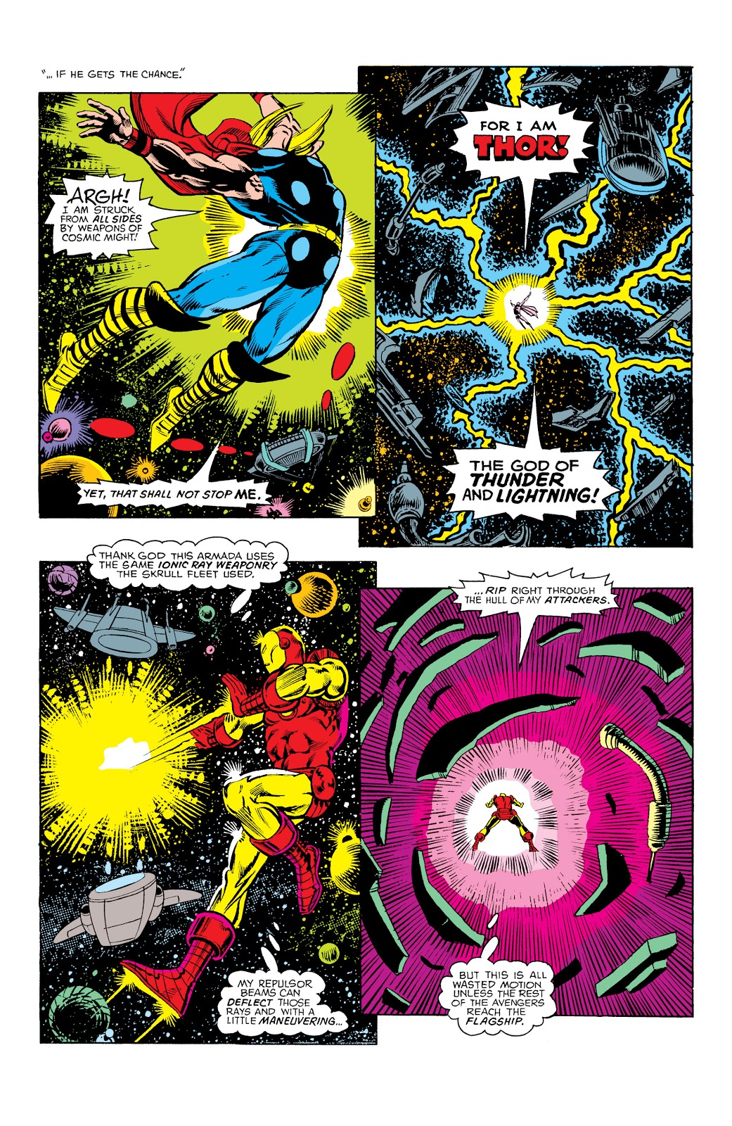 In 'Avengers Annual' (1977) #7, the Avengers fight Thanos and his alien armada.