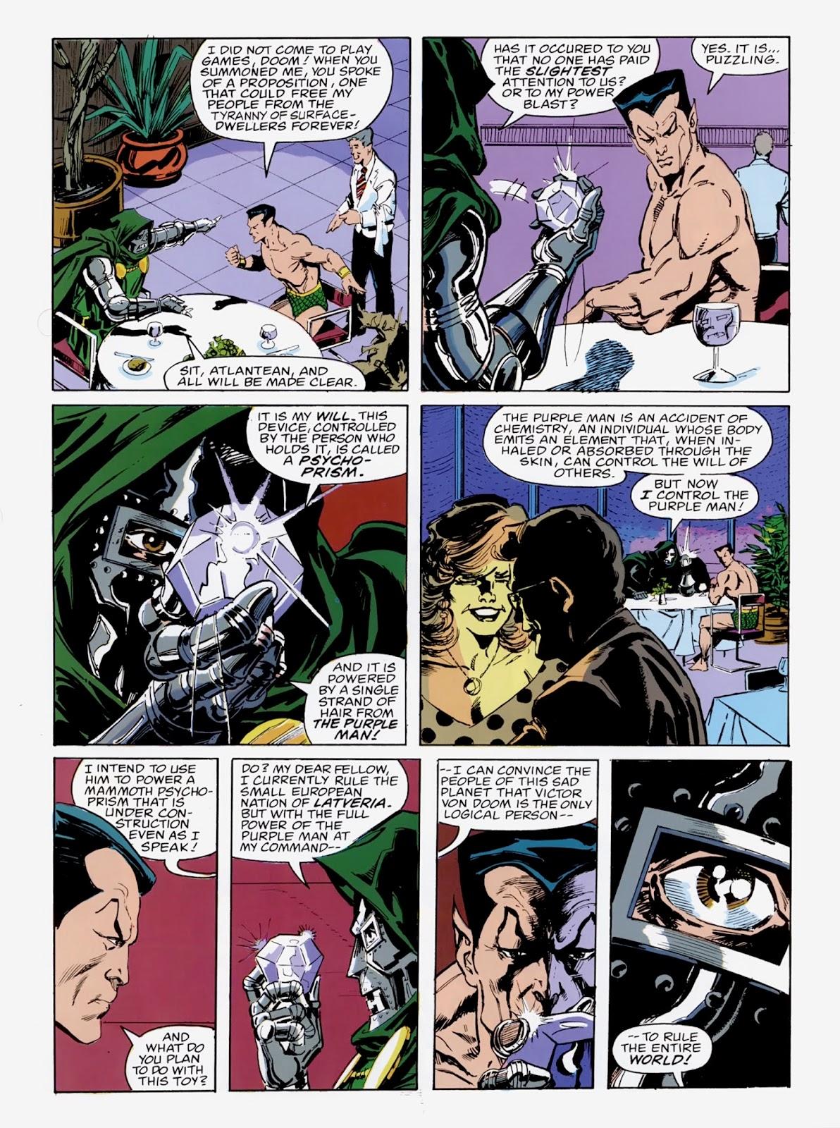 """In """"Avengers: Emperor Doom"""" (1987), Doctor Doom shows Namor his psycho-prism."""