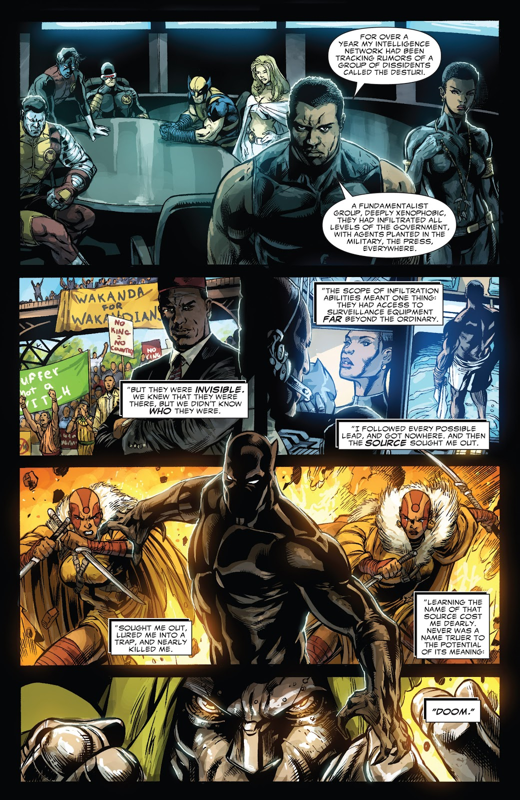 In 'Doomwar' (2010) #1, T'Challa briefs the X-Men on the Desturi coup d'etat in Wakanda and Doctor Doom its mastermind.