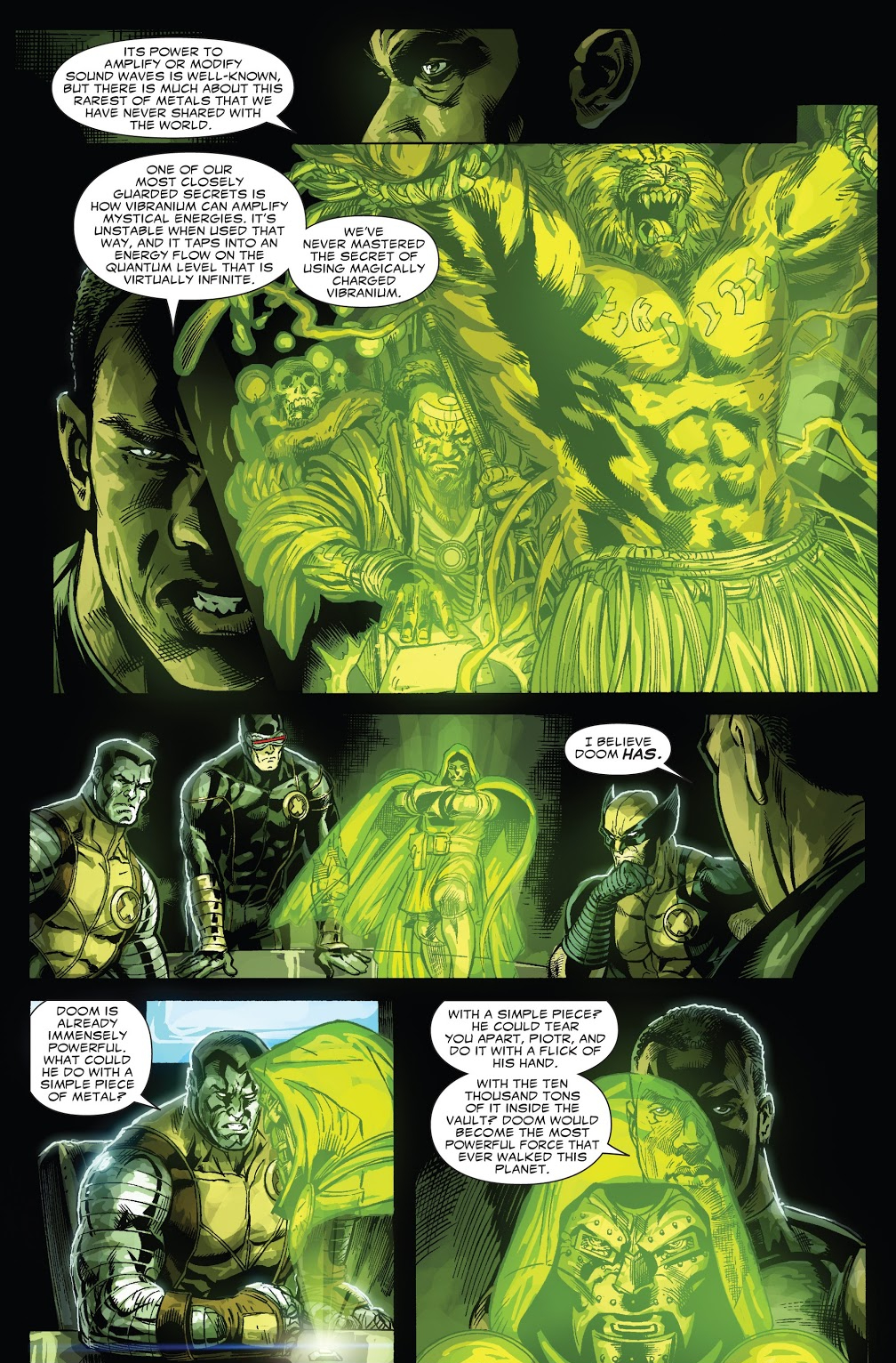 In 'Doomwar' (2010) #1, T'Challa speaks about Vibranium's mystical properties.