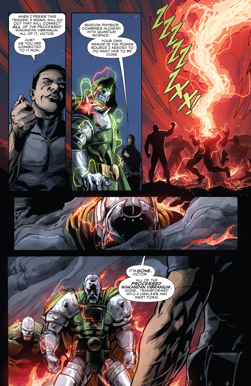 In 'Doomwar' (2010) #6, T'Challa uses a trigger that renders all processed Vibranium inert.