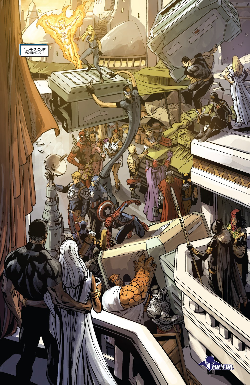 In 'Doomwar' (2010) #6, Black Panther and Storm watch as the superhero community helps to rebuild Wakanda.