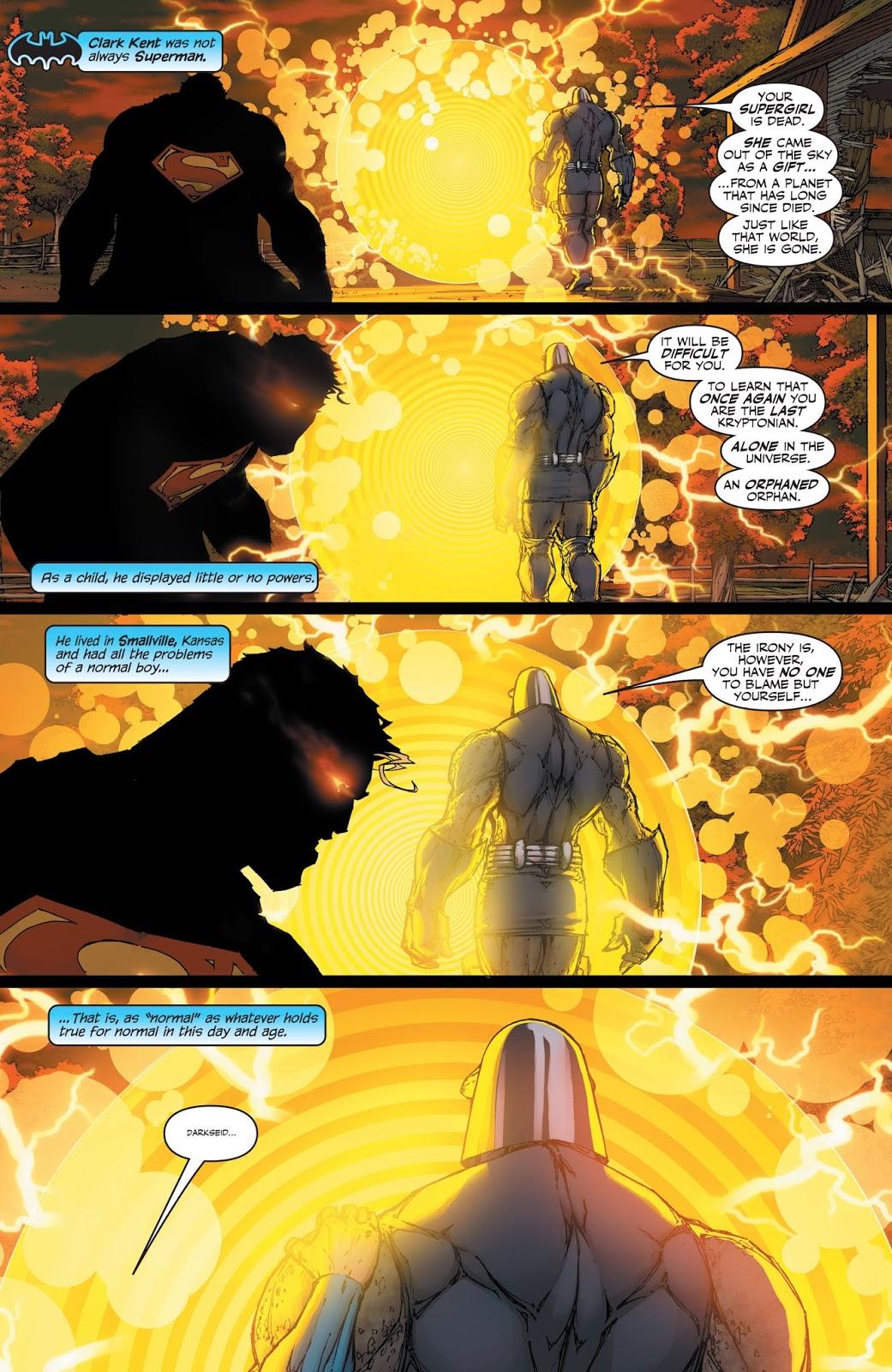 In 'Superman/Batman' (2004) #13, Superman is angry and battles Darkseid.