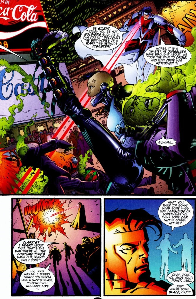In 'WildC.A.T.s' (1996) #28, Mister Majestic leads a new WildC.A.T.s. team in battle.